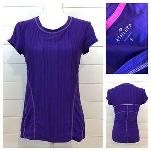 ATHLETA Purple Stripe Short Sleeve Teeshirt Small